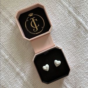Juicy Couture White Heart Studs